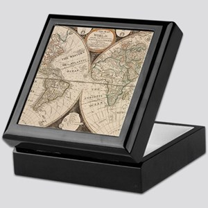 Vintage Map of The World (1799) 5 Keepsake Box